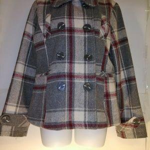 Charlotte Russe Plaid Women's Wool Blend Pea Coat